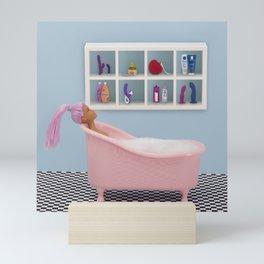Fun at bath time Mini Art Print