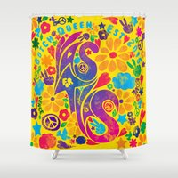 60s Shower Curtains featuring BQ - Yas4Yas 60s Throwback by lessdanthree