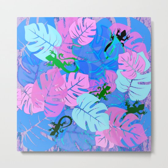 Monstera and Lizards in Blue Metal Print