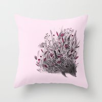 hedgehog Throw Pillows featuring Hedgehog by Linette No