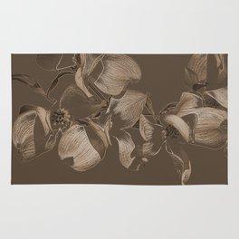 Dogwood Tree Flowers (sepia) Rug