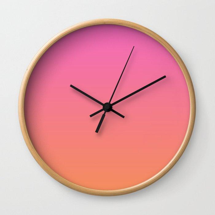 Pink to Orange Ombre Shaded Raspberry and Papaya Sorbet Ice Cream Gelato Wall Clock