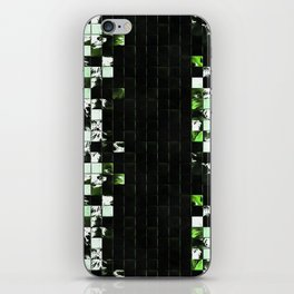 Green Accent Black And White Square Tiled Ceramic Mosaic Pattern iPhone Skin