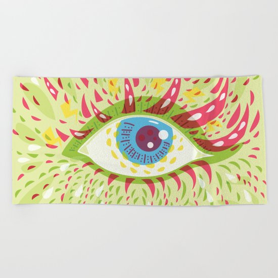 Front Looking Psychedelic Eye Beach Towel