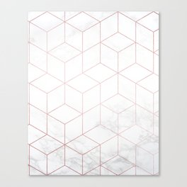 Rose Gold Geometric White Mable Cubes Canvas Print