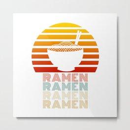 Ramen Life Japanese Noodles Vintage Retro Style Gift Metal Print