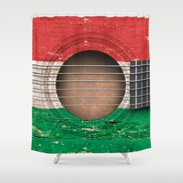 Old Vintage Acoustic Guitar with Hungarian Flag Shower Curtain