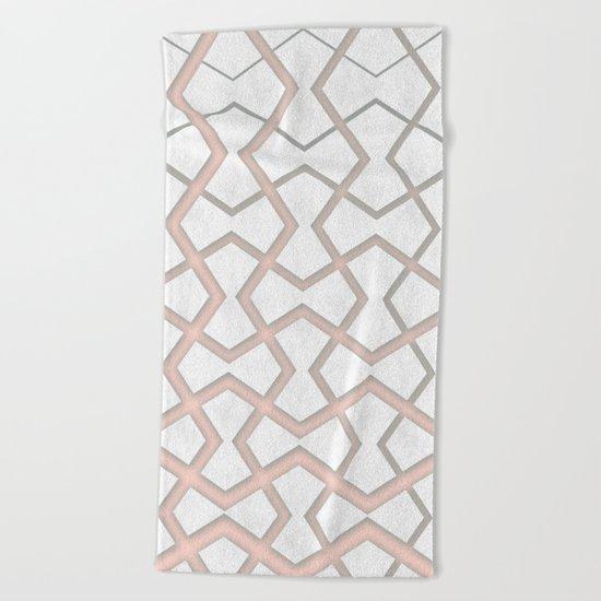 Pink Under Marble Tiles Beach Towel
