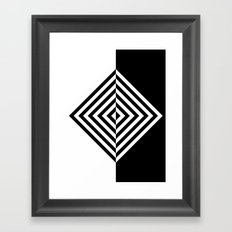 Black and White Concentric Diamonds Framed Art Print