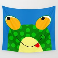 frog Wall Tapestries featuring Frog by Jessica Slater Design & Illustration