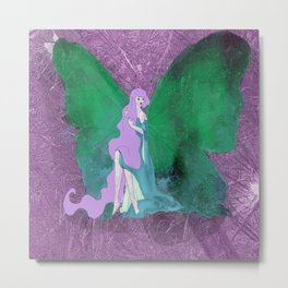 Green Butterfly Fairy Metal Print