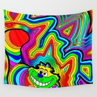 trippy Wall Tapestries featuring Trippy Chesire by Illuminit Conceptions