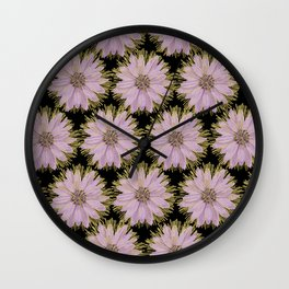 Large Gold & Lilac Flowers On Black Wall Clock