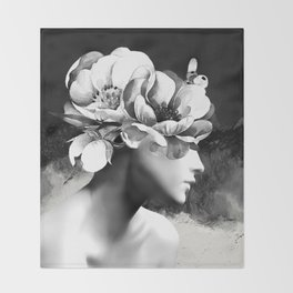Floral Portrait-black and white Throw Blanket