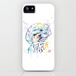Havanese Colorful Watercolor Pet Portrait Painting iPhone Case