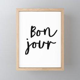 Bonjour black and white monochrome typography poster home wall decor bedroom minimalism Framed Mini Art Print