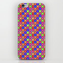 Numbers and Vowels Colorful Pattern iPhone Skin