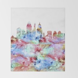 Cincinnati City Skyline Ohio Throw Blanket