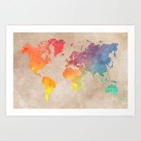 world maps Art Prints featuring World Map Maps by jbjart