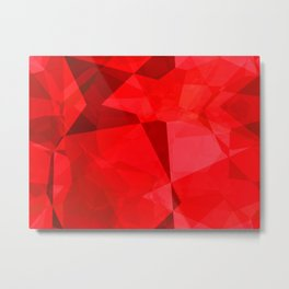Mottled Red Poinsettia 1 Ephemeral Abstract Polygons 2 Metal Print
