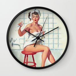 Pin Up Girl in White Bathroom Wall Clock