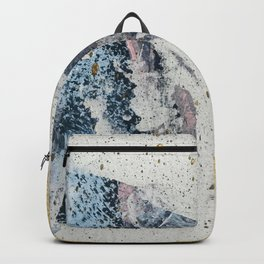 Synergy: a minimal, abstract mixed-media piece in gold, blue, and purple by Alyssa Hamilton Art Backpack
