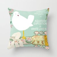 woodstock Throw Pillows featuring Woodstock Birdie Collage Print by Claudia Schoen