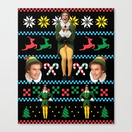 Buddy the Elf Ugly Christmas Sweater Design Will Ferrell Canvas Print