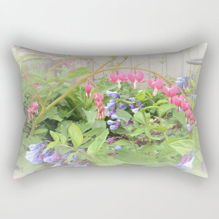 Floral Fantasy Bleeding Hearts and Bluebells Rectangular Pillow