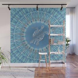 Sea Turtle Animal And Mandala Silver Blue Wall Mural