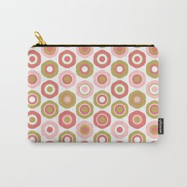 Buttons. Cute Geometric Pattern in Dark Mustard Yellow, Coral Pink and White Carry-All Pouch