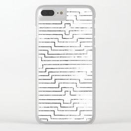 Geometric Boho Ripples - B&W Clear iPhone Case