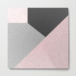 Gray , pink , patchwork Metal Print
