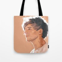 louis tomlinson Tote Bags featuring Louis Tomlinson  by Danny Spikes