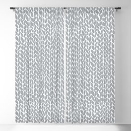 Hand Knit Light Grey Blackout Curtain