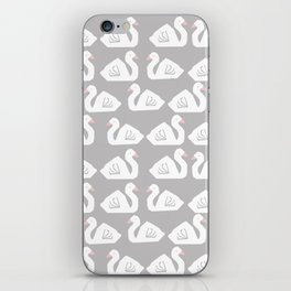 Swan minimal pattern print grey and white bird illustration swans nursery decor iPhone Skin