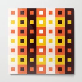Geometric Pattern 74 (orange stripes squares) Metal Print