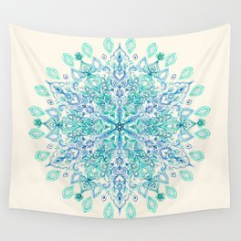 Peppermint Snowflake on Cream Wall Tapestry