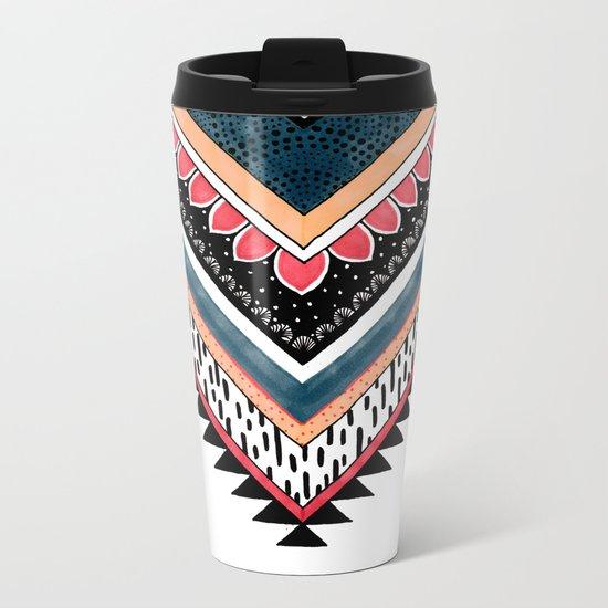 Tribal Geometric Chevron Metal Travel Mug