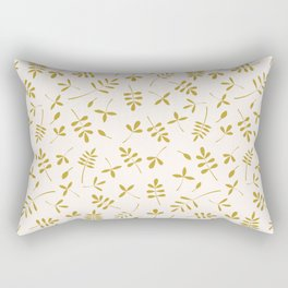Gold Leaves Design on Cream Rectangular Pillow