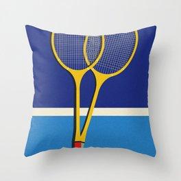 Wooden Badminton Rackets Throw Pillow