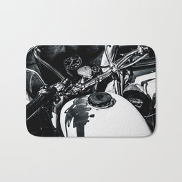 Details Of A Vintage Motorcycle Black White Bath Mat