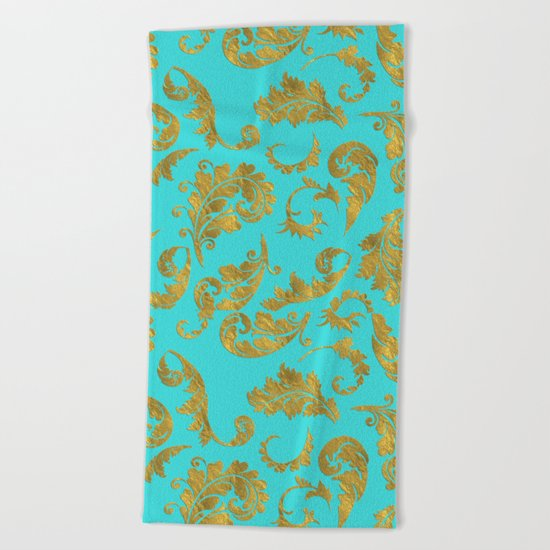 Queenlike on aqua - Gold glitter ornaments on aqua background- pattern Beach Towel