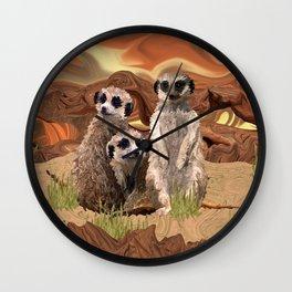 Three Meerly Meerkats  Wall Clock