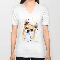 chihuahua V-neck T-shirts featuring Chihuahua by Slaveika Aladjova
