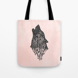 Adventure Wolf - Nature Mountains Wolves Howling Design Black on Pale Pink Tote Bag