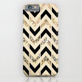 Black & Gold Glitter Herringbone Chevron on Nude Cream iPhone Case