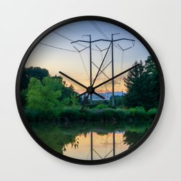 Power Pylons Over A River Wall Clock