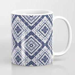 Strict , white blue ornament. Coffee Mug