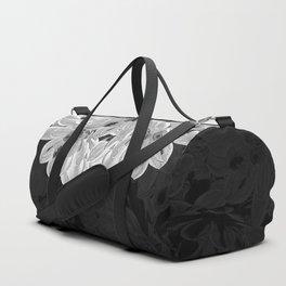 Elegant Black and White Flowers Design Duffle Bag